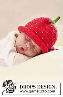 "Too sweet! Knitted DROPS strawberry hat or blueberry hat in ""Alpaca"". Pattern included."