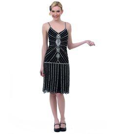 Black & Silver Beaded Drop Waist Zelda Fringe Flapper Dress - Unique Vintage - Prom dresses, retro dresses, retro swimsuits. $196
