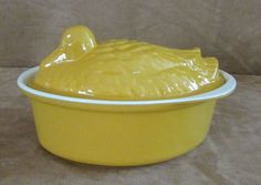 Chasseur Duck yellow enamel French Oven Casserole dish Dutch cast iron #Chasseur