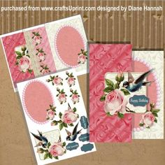 Roses Bird and Lace Fold Back Mini Kit on Craftsuprint - Add To Basket!