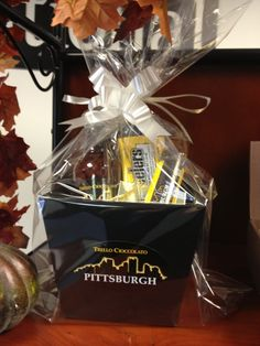 Trello Cioccolato Black & Gold Pittsburgh Basket  www.trellochocolate.com Healthy Food, Healthy Recipes, Gift Baskets, Pittsburgh, Black Gold, Container, Skyline, Gift Ideas, Chocolate