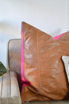 repurposed leather sofa to pillow cover---vintagerevivals.com
