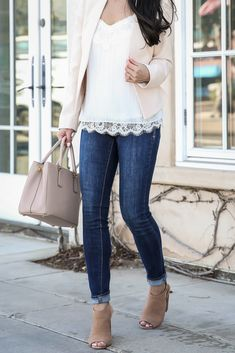Simple spring outfit - pleated lace cami, blush pink collarless blazer, spring casual outfit - click the photo for outfit details!