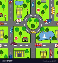Illustration about Cartoon seamless bright background with roads, cars, houses and trees. Illustration of cartography, green, homes - 39924621 Funky Painted Furniture, Maps For Kids, Bright Background, Space Party, Learning Numbers, Graphic Design Tutorials, Any Book, Business For Kids, Toddler Crafts