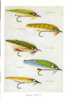 Items similar to Fly Fishing Print Streamers Vintage Print Ray Pioch Fresh Water Fishing Outdoor Life Wall Decor & 14 Fishing Tackle on Etsy Best Fishing Lures, Homemade Fishing Lures, Trout Fishing, Fly Fishing, Fishing Tips, Fishing Stuff, Fishing Tackle, Saltwater Flies, Saltwater Fishing