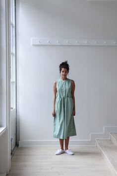 M. Crow Sleeveless Button Dress Green