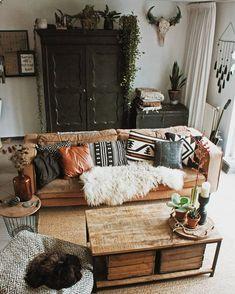 Modern Bohemian Living Room Inspiration Ideas ⋆ Home & Garden Design Boho Living Room, Cozy Living Rooms, Home And Living, Modern Living, Small Living, Western Living Rooms, Modern Room, Retro Home Decor, Diy Home Decor