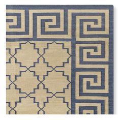 Greek Key Border Flatweave Rug, Blue #williamssonoma