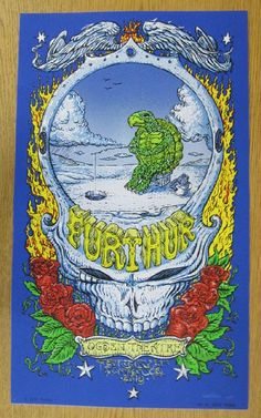Original silkscreen concert poster for Furthur at The Ogden Theatre in Denver, CO in 2013. 13 x 22 inches on card stock. Hand-Signed by the artist David Welker.