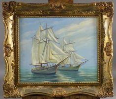 A. STCHEKINE - ECOLE RUSSE Xxème s. Voiliers Huile sur toile signée en bas à droite. - 50 x 61 cm.  Estimation : 100/200€