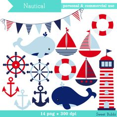 Boy's Nautical Clipart - set of boats, anchors, lighthouse, whales, banner- personal use, commercial use, instant download