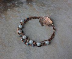 Morning elegance - Labradorite bracelet with real leaf #jewelry #gift #woman #fashion #grey #artisan #chains #Real #leaf #bracelet #labradorite #aquamarine #boho #Botanical