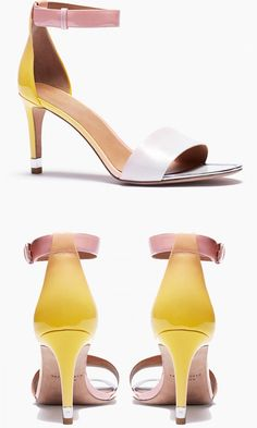 Cast in pretty sunset shades, these minimalist mid-heel sandals are perfect for a poolside party or cocktail hour. Mid Heel Sandals, Shoes Sandals, Shoe Boots, Cute Shoes, Me Too Shoes, Summer Shoes, Crazy Shoes, Beautiful Shoes, Wedding Shoes