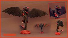 TOOTHLESS Red stripes Sculpture - Nightfury FANART by buzhandmade.deviantart.com on @DeviantArt