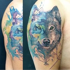"""""""Beautiful watercolor/realistic cross-over wolf piece by @lucylululu! #tattoo #watercolor #watercolortattoo #realistic #realistictattoo…"""""""