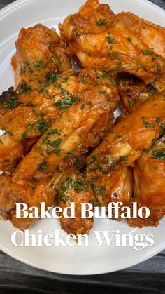 Buffalo Chicken Recipes, Baked Chicken Recipes, Meat Recipes, Appetizer Recipes, Cooking Recipes, Healthy Recipes, Healthy Chicken, Easy Chicken Wing Recipes, Snacks