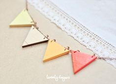 """Wood Laser cut Pendant with autumn colors triangles """"Funny Geometry"""". 