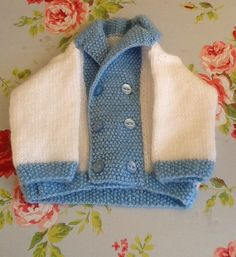 Baby boys knitted cardigan by Happilyevercrafts on Etsy, £12.00