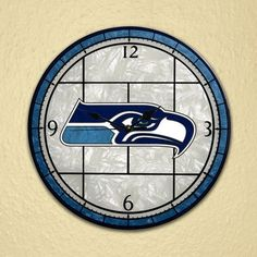 It's always time for the Seahawks with these great Seattle Seahawks clocks! Stained Glass Quilt, Stained Glass Ornaments, Seahawks Football, Seattle Seahawks, Clock Template, Clock Shop, Buffalo Sabres, Nfl Shop, Wall Fans