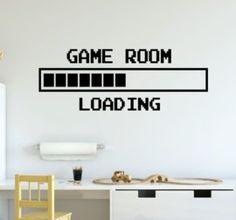 Muursticker gamer game room loading jongenskamer (Kleur of verfsjabloon: Zwart,S/M/L: Large) Game Room Decor, Boys Room Decor, Boy Room, Gamer Bedroom, Kids Bedroom, Game Room Lighting, Boys Game Room, Video Game Decor, Gaming Room Setup