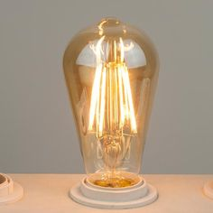 Thinklux Filament LED S21/ST21 Edison Style Light Bulb - 7 Watt - 60 Watt Equal - 2200K Super Warm - Antique Amber Glass - Dimmable - 4 Pack