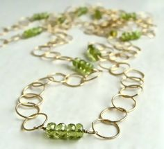 Long Gold South Beach Layering Necklace with Peridot by Flow Designs