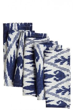 Calypso Home : Outfit your social gatherings in colorful style.  This casablanca blue ikat cocktail napkin lends a textural hand.