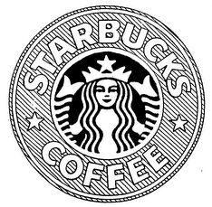 starbucks, logo, drawing, tumblr, black and white, coffee