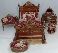 Victorian Bedroom Set, Dollhouse Miniatures by Deb's Minis Victorian Dollhouse Furniture, Miniature Dollhouse Furniture, Victorian Dolls, Miniature Rooms, Modern Dollhouse, Dollhouse Dolls, Antique Dolls, Dollhouse Miniatures, Miniature Houses