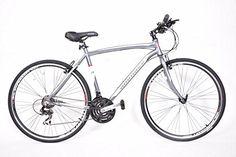 AMMACO ADULTS CS250 BICYCLE 21 SPEED 21″ FRAME / 700C WHEEL ALLOY RIGID SILVER SPORTS HYBRID