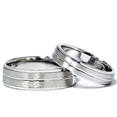 14k White Gold Matching Brushed Wedding Ring Band Set, Adult Unisex