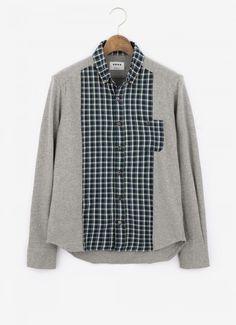 PLST Men コットンビエラチェック×ジャージードッキングシャツ