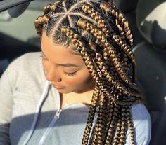 Jumbo sized Box Braids - Blonde Box Braids - Protective Style - September 21 2019 at Short Box Braids, Jumbo Box Braids, Braids With Weave, Twist Braids, Braids With Color, Hair Twists, Large Box Braids, Big Braids, Ghana Braids