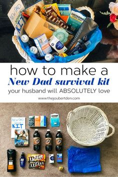 How To Make A New Dad Survival Kit Your Husband Will Absolutely Love Love this idea! Make a new dad survival kit for your husband/partner before you give birth! Baby Survival Kits, New Dad Survival Kit, Survival Kit Gifts, Survival Supplies, Survival Gear, Survival Prepping, Wilderness Survival, Pregnancy Survival Kit For Mom, Survival Hacks