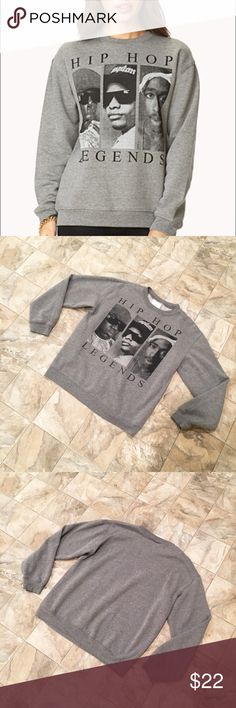 "ORIGINAL FLAVOR hip hop legends sweatshirt ORIGINAL FLAVOR grey Hip Hop Legends sweatshirt from Forever 21 | features legends Notorious B.I.G., Eazy-E, Tupac Shakur | crewneck | size S | inseam is 14.5"" | across chest length is 20"" original flavor Tops Sweatshirts & Hoodies"