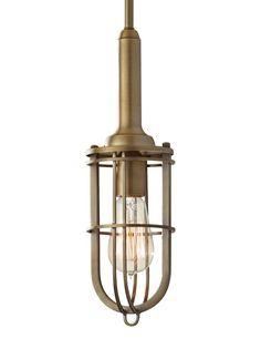 Feiss Lighting Mini-Pendant Light with Beige / Cream Cage Shade Cage Pendant Light, Small Pendant Lights, Modern Pendant Light, Pendant Lighting, Cage Light, Pendant Lamps, Lighting Sale, Barn Lighting, Modern Lighting
