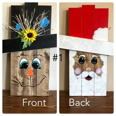 Reversible holiday pallet face signs Reversible holiday face signs made out of pallet wood. Fall Wood Crafts, Halloween Wood Crafts, Christmas Wood Crafts, Theme Halloween, Christmas Projects, Holiday Crafts, Christmas Crafts, Thanksgiving Wood Crafts, Cheap Christmas
