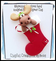 Becky's Polymer Clay  Christmas Stocking with por clayfulcreations