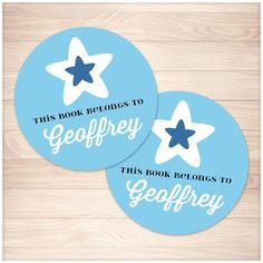 Blue Star Personalized Bookplate Stickers - Printable