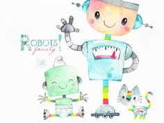 Robots Watercolor Vintage Clipart Retro Kids Boys Mechanic