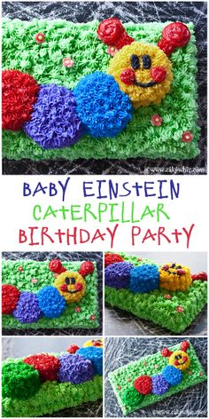 Fun and colorful Baby Einstein Caterpillar birthday party with lots of fun food, recipes and and tips for throwing a successful bash! From cakewhiz.com