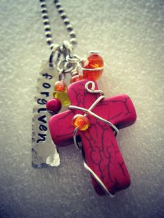 """""""Forgiven"""" hand stamped wire wrapped magnesite cross necklace"""