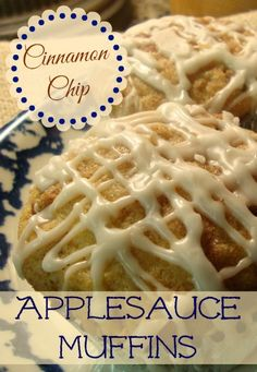 Cinnamon Chip Applesauce Muffins~ For a long time I made this recipe as a coffee cake in a 13 x pan. It is so moist and delicious! I thought it would be really good (and portable) as a muffin. Just Desserts, Delicious Desserts, Yummy Treats, Dessert Recipes, Yummy Food, Brunch Recipes, Muffin Recipes, Apple Recipes, Sweet Recipes