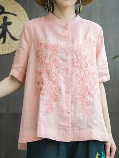 Cheap Blouses & Shirts, Buy Directly from China Suppliers:Mferlier Ladies Summer Chic Solid Embroidery Blouse Stand Collar Short Sleeve Women Smart Casual Cotton Linen Blouses Stand Collar Shirt, Collar Blouse, Collar Shirts, Shirt Blouses, Kurta Designs, Blouse Designs, Embroidered Shorts, Cheap Blouses, Linen Blouse