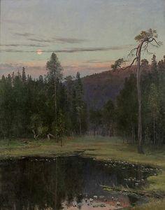 allesandersen:  Christian Skredsvig (1854-1934): Aftenstemning ved et tjern. Oil on canvas. via