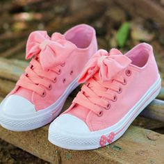 Color: Pink Material: Canvas Sweet Leisure Pink Bowknot Lace-up Canvas Shoes