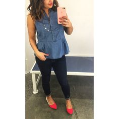 I love this tank!  and I love the denim on denim! Gold chain and color block flats.... Yes please  #OldNavyFinds #oldnavystyle  Chambray peplum tank (s) $26.94 Necklace $12.94 Rockstars $34.94 Color block skimmers $24.94 (black color as well)