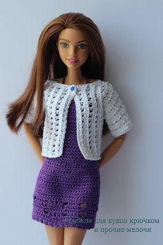 crocheted barbie doll clothes PDF pattern of the exquisite crochet summer dress and a jacket for Barbie type dolls. The jacket is decorated with small beads and a button. Barbie Clothes Patterns, Crochet Barbie Clothes, Doll Clothes Barbie, Barbie Dress, Clothing Patterns, Barbie Doll, Crochet Summer Dresses, Simple Summer Dresses, Summer Dress Patterns