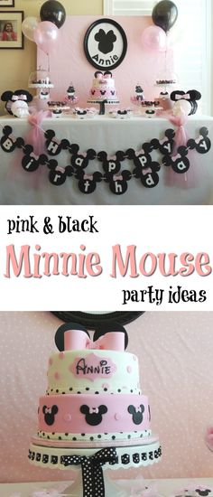 Adorable pink and black Minnie Mouse party ideas ♥