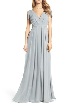 Sleeveless Deep V-Neck Chiffon Gown by MONIQUE LHUILLIER BRIDESMAIDS on @nordstrom_rack